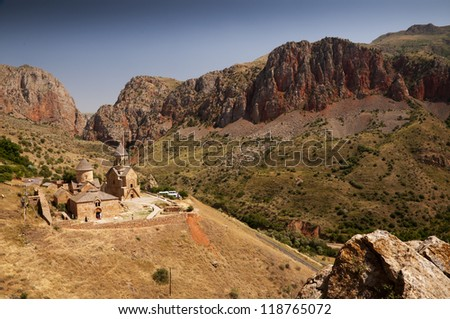 Noravank is a  13th century Armenian monastic complex  in Amaghu valley. - stock photo