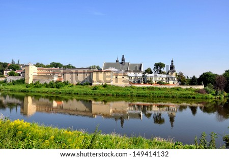 Norbertine nunnery and the church of St. Augustin and St John the Baptist at Vistula River in Cracow, Poland - stock photo