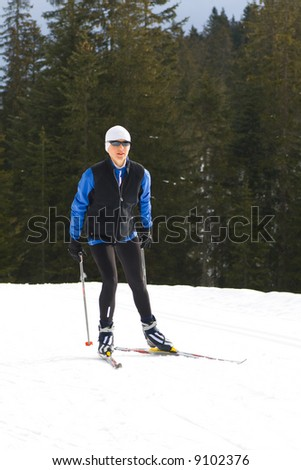 Nordic-skating woman. Near Fuessen in Alps, Germany. - stock photo