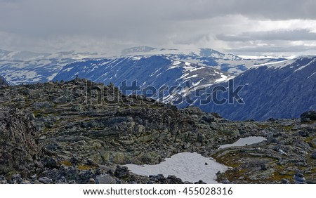 Nordic vista seen from Mt. Dalsnibba near Geiranger in Norway