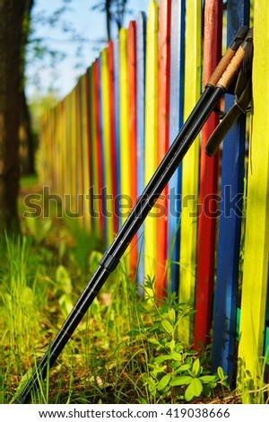 Nordic walking on the spring park. Active and healthy lifestyle - stock photo