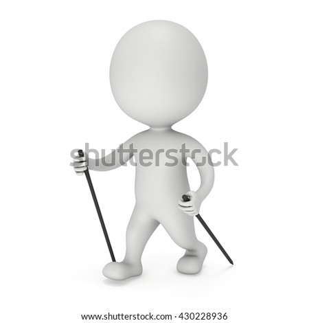 Nordic walking white blank man. 3d render illustration isolated on white background. Concept of helthcare and fitness small people. 3D man nordic walk illustration. 3D man outdoor healthcare sport.