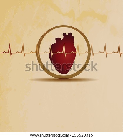 Normal heart beat rhythm, cardiogram  and heart wallpaper. Medical background, bright design.