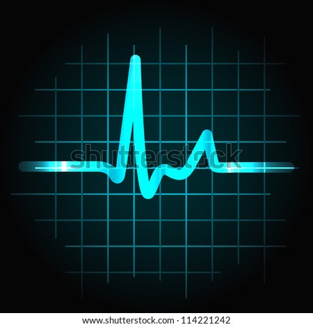 Normal heartbeat sinus wave with light effects, perfect for fitness, cardiovascular healthcare or others. - stock photo