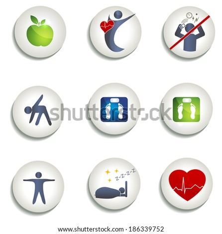 Normal weight, healthy eating and other icons. Healthy living symbols. Healthy food, fitness, no stress and healthy weight leads to healthy heart and life. - stock photo