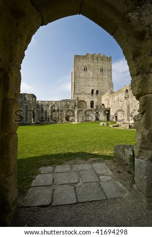 Norman Portchester Castle viewed through the gate - stock photo