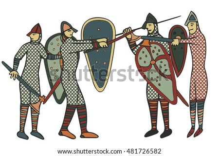 Norman Soldiers done in a medieval style of illustration - circa the 11th Century in England (Computer artwork)