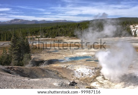 Norris Geyser Basin at Yellowstone National Park - stock photo