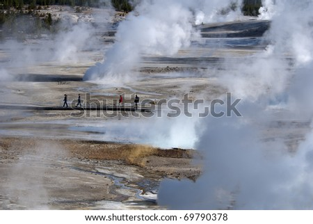 Norris Geyser Basin, Yellowstone National Park - stock photo