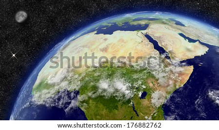 North Africa region on planet Earth from space with Moon and stars in the background. Elements of this image furnished by NASA.