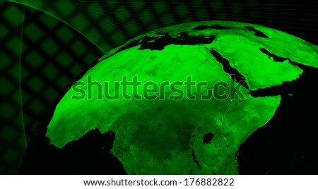 North Africa region technology concept. Elements of this image furnished by NASA.