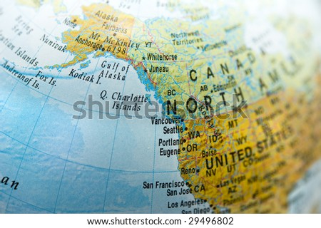 North America and Canada Map - stock photo