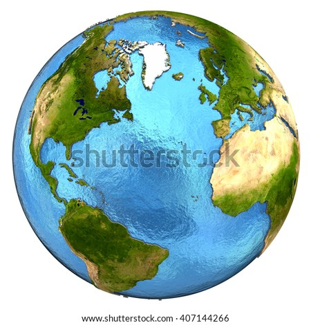 North America and Europe on detailed model of planet Earth with continents lifted above blue ocean waters. 3D Illustration. Elements of this image furnished by NASA. - stock photo