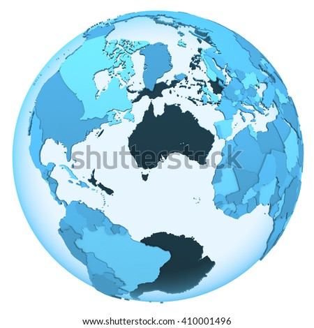 North America and Europe on translucent model of planet Earth with visible continents blue shaded countries. 3D illustration isolated on white background. - stock photo