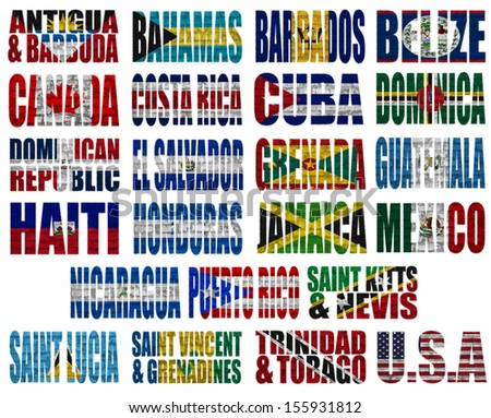 North America countries(without Panama) flag words on a white background - stock photo