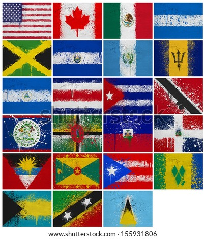 North America countries(without Panama) flags on a white background - stock photo