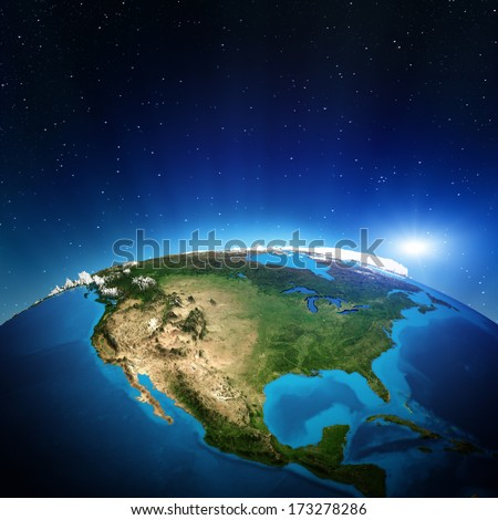 North America from space. Elements of this image furnished by NASA - stock photo