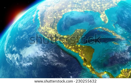 North America including Mexico,Costa Rica, Cuba,Bahamas, some parts of usa and so on along with city lights-Elements of this image furnished by NASA - stock photo