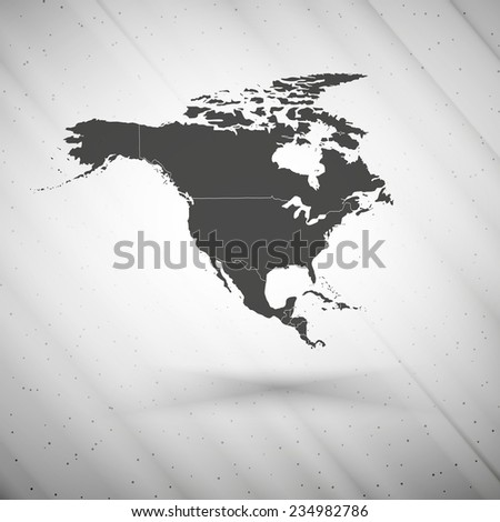 North america map on gray background, grunge texture illustration. - stock photo
