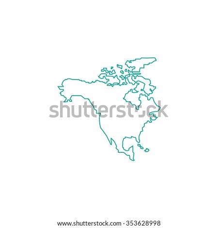 North America Map Outline Symbol On Stock Illustration 353628998