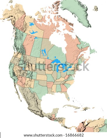 North America Map Showing Us States Stock Illustration - Us america map