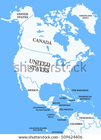 North America map with countries - stock photo