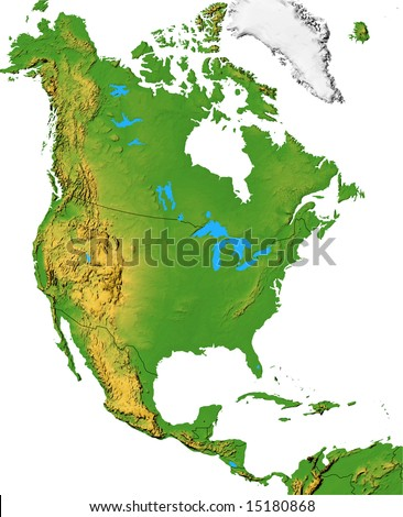 North America map with terrain