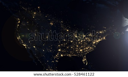 North America Night Lights World Map Composition - Elements of this image furnished by NASA