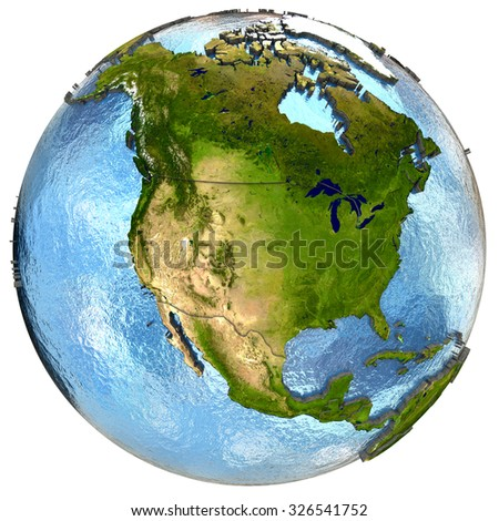 North America on highly detailed planet Earth with embossed continents and country borders. Isolated on white background. Elements of this image furnished by NASA. - stock photo