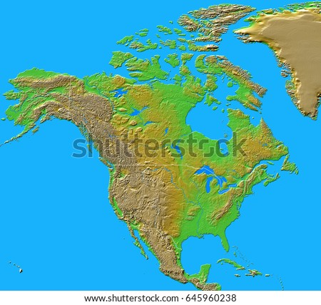 North America Shaded Relief Map Boundaries Stock Illustration - North america relief map
