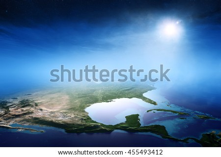 North America sunrise aerial view background  (Elements of this 3D rendered image furnished by NASA) - stock photo