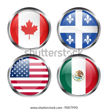North American flag buttons - Canada, Quebec, USA and Mexico - stock photo