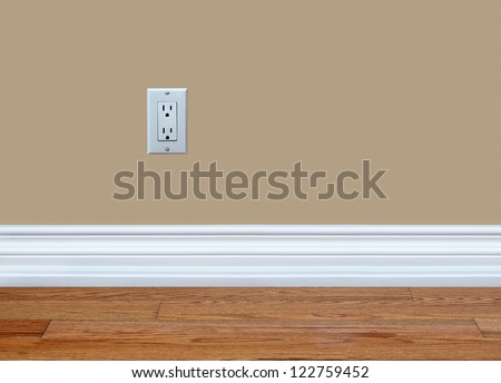 North American 110 volt wall electrical outlet on wall - stock photo