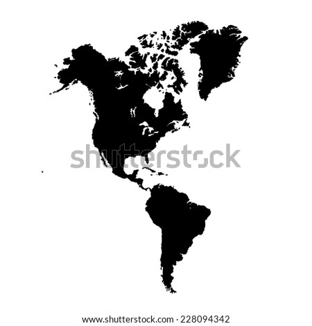 North and South America map - stock photo