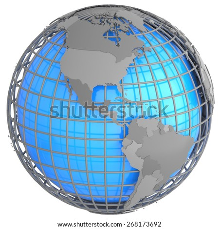North and South America on a grey geographic net enveloping Earth, isolated on white background. - stock photo