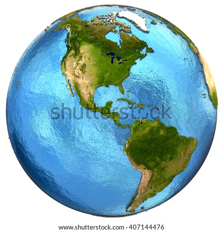 North and South Americas on detailed model of planet Earth with continents lifted above blue ocean waters. 3D Illustration. Elements of this image furnished by NASA.