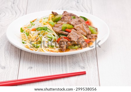 North Asian dish Mongolian Noodles with Beef