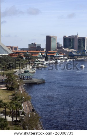 North bank Jacksonville Florida with shopping and dining complex - stock photo