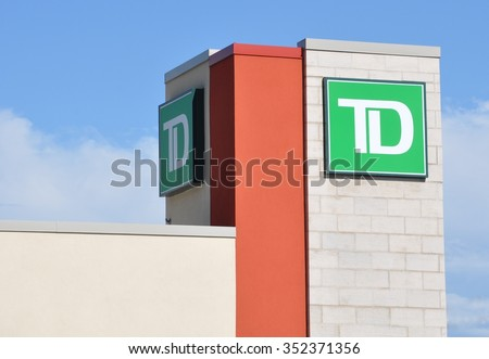 North Bay, Ontario, Canada - August 1, 2015: Sign of TD bank.