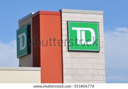 North Bay, Ontario, Canada - August 1, 2015: Sign of TD bank in exterior of the building.