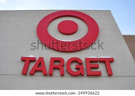 North Bay, Ontario, Canada - February 4, 2015: The sign of Target Corporation in front of their store. - stock photo