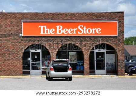 North Bay, Ontario, Canada - July 9, 2015: Sign of The Beer Store. - stock photo