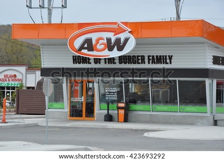 North Bay, Ontario, Canada - May 18, 2016: Front of A and W store in North Bay.