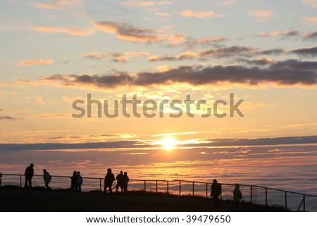 north cape  midnight sun, nordkapp, norway - stock photo