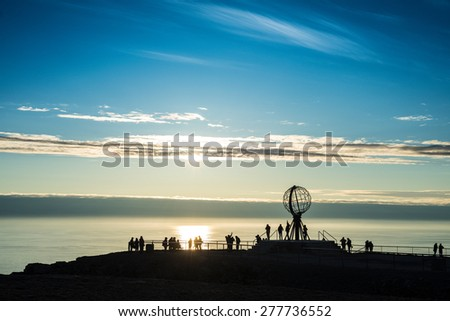 North Cape (Nordkapp), on the northern coast of the island of Mager�¸ya in Finnmark, Northern Norway. - stock photo