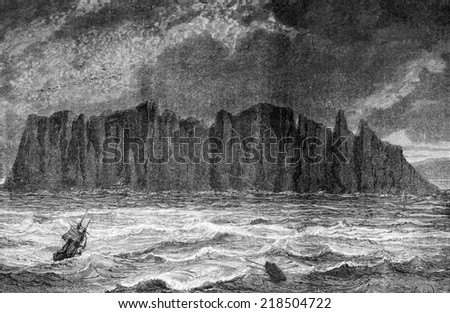 North Cape, vintage engraved illustration. Le Tour du Monde, Travel Journal, (1872). - stock photo