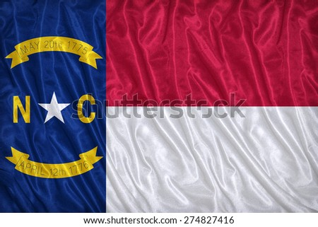 North Carolina flag pattern on the fabric texture ,vintage style
