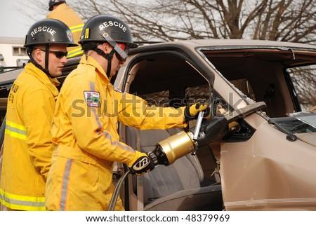 NORTH CAROLINA - JANUARY 15: Extrication Training Demo Fire Expo on January 15, 2010 in Winston-Salem, NC - stock photo