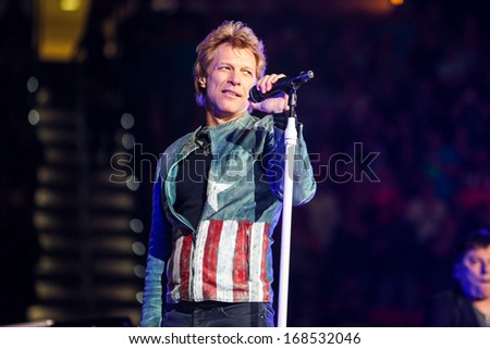 "North Carolina - November 6, 2013 - Bon Jovi performs live in concert as part of their ""Because We Can"" 2013 World Tour."