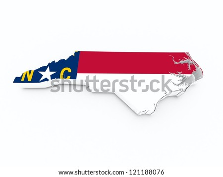 north carolina state flag on 3d map - stock photo